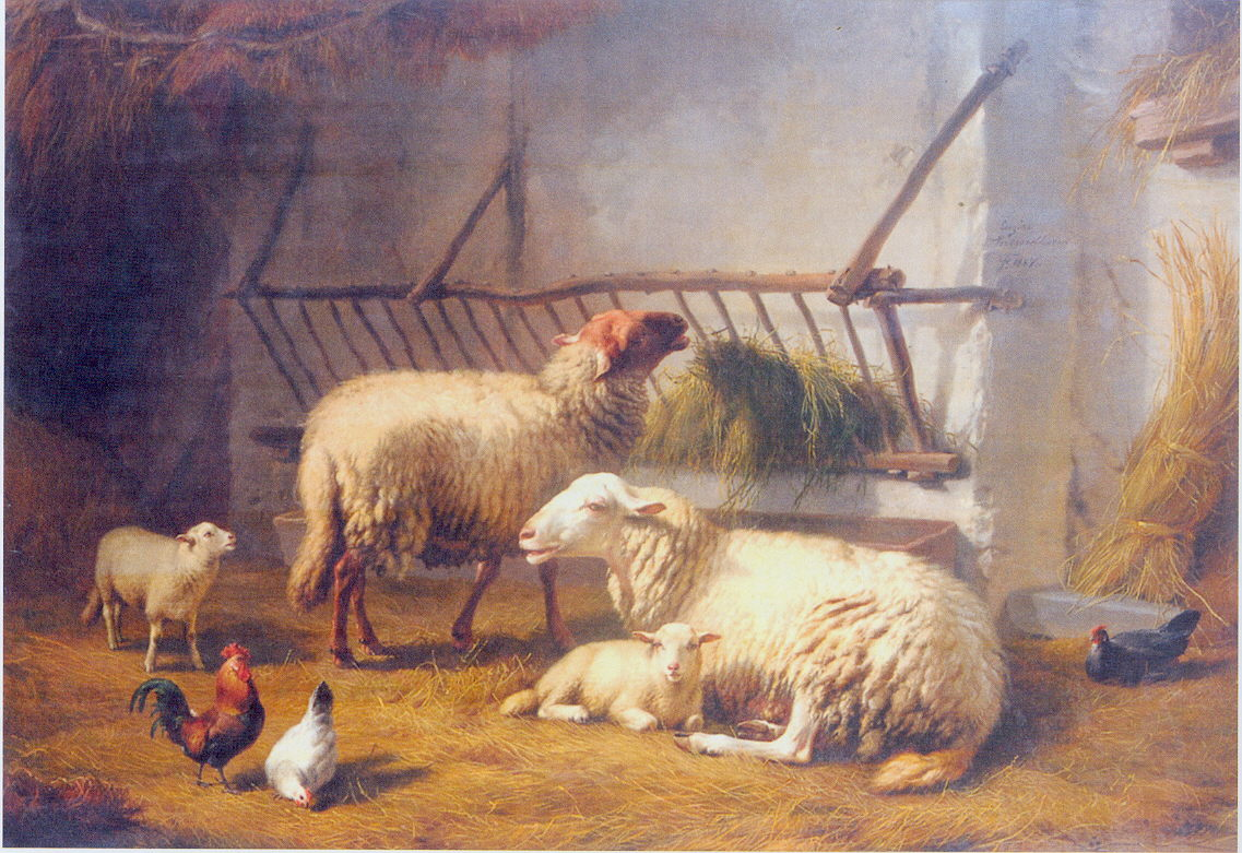 Sheep in their fold: painting by Eugene Joseph Verboeckhoven 1857