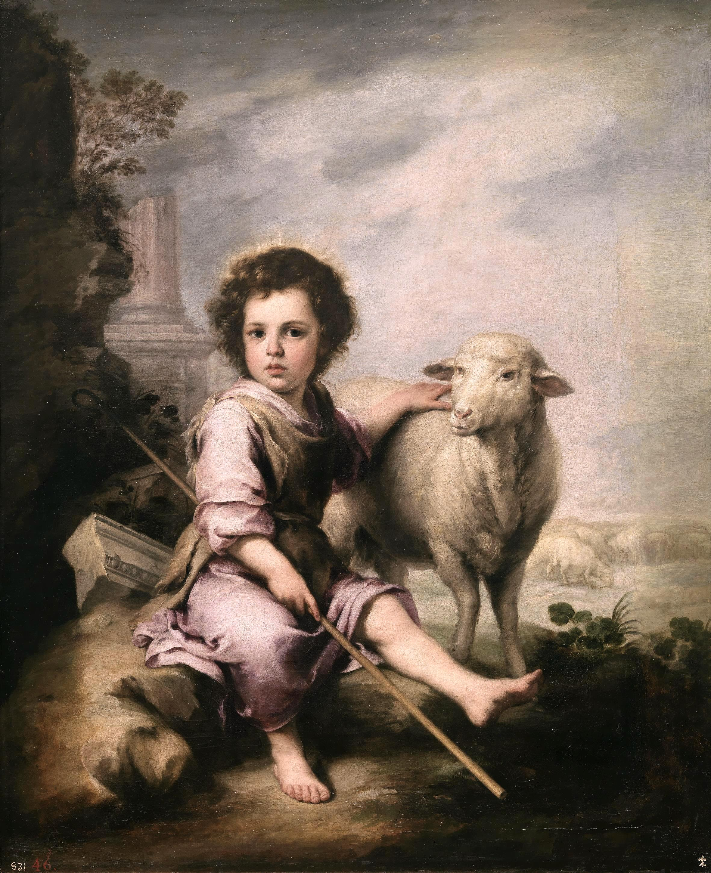 El Buen Pastor - The Good Shepherd, painted by Bartolomé Esteban Murillo (1617–1682) circa 1660 - one of the earliest depictions of a merino sheep