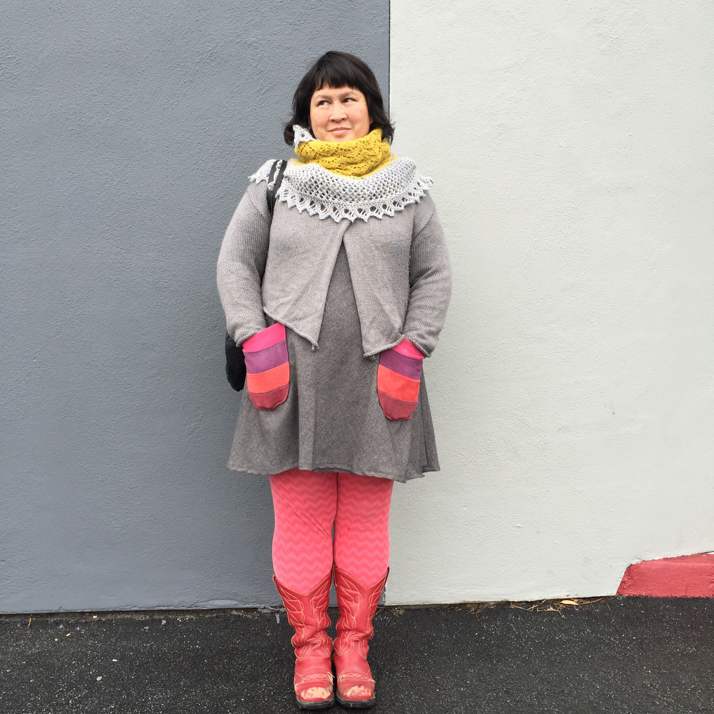 Sonyaphilip: Color + Gray edition of #handmadewardrobechronicles Liz Christie shawl by @throughtheloops; cardigan (own design); #100actsofsewing Dress no. 1 in lined wool with naturally dyed wool pockets by @avfkw; leggings (own pattern); and Fluevog boots