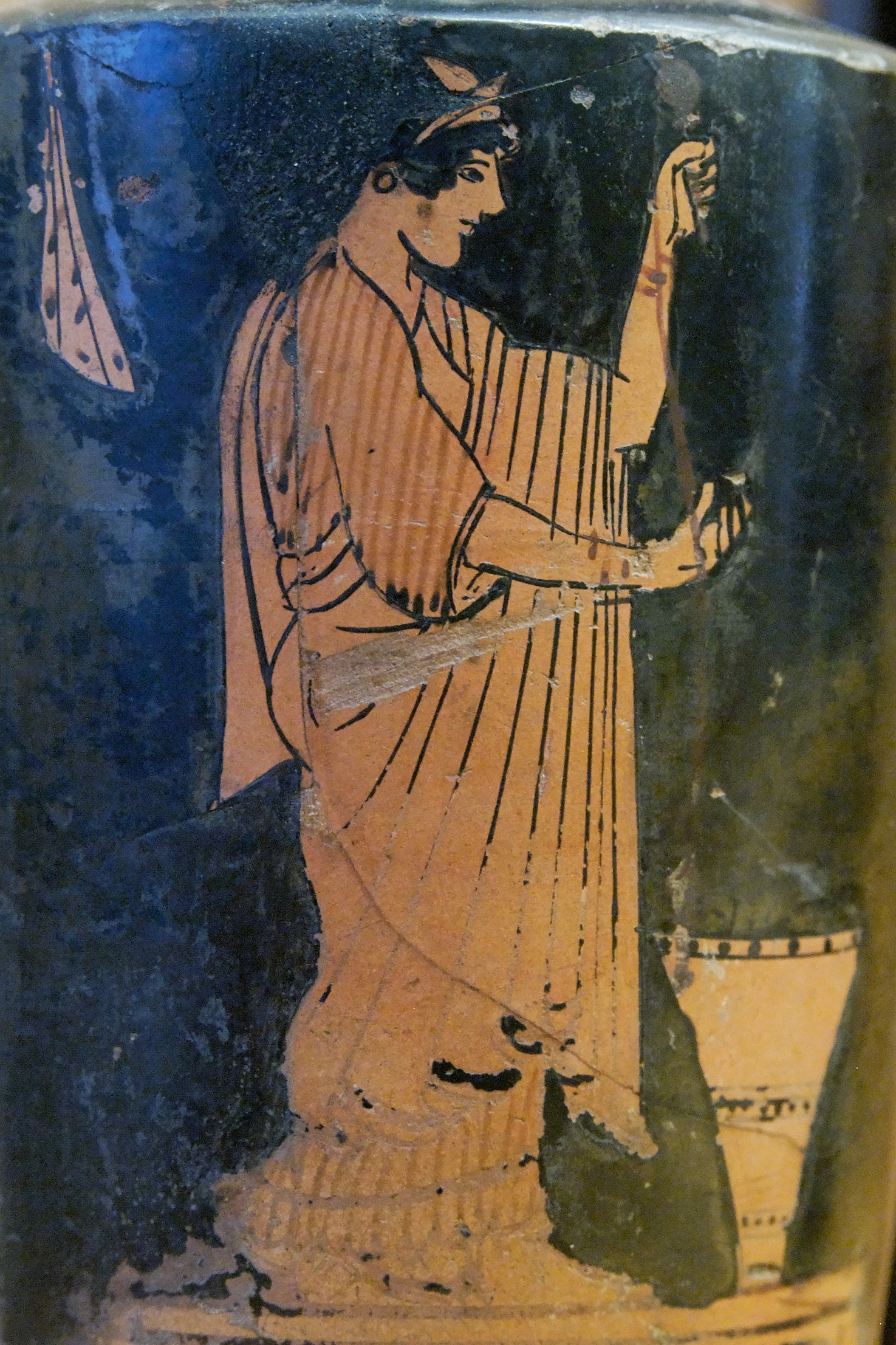 Woman spinning; a kalathos on the ground. Attic red-figure lekythos, 480–470 BC. - photo found in Wiki Commons and attributable to Marie-Lan Nguyen
