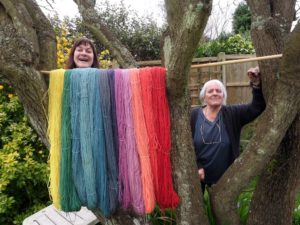 Louise Spong and Jenny Dean Southdown Yarn drying